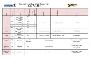 Secondary School Spring Competition Calendar
