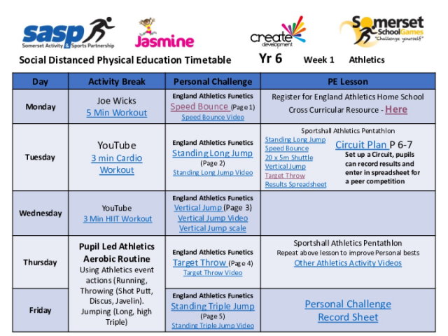Weeks 1-4 Social Distanced Activities Timetable