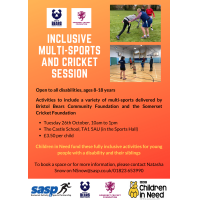 Inclusive Multi-Sports and Cricket Session with Bristol Bears Community Foundation and Somerset Cricket Foundation